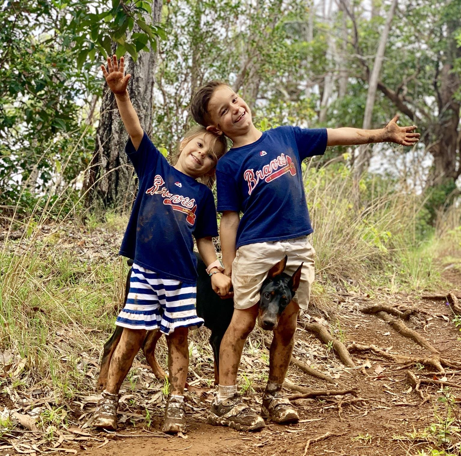 Warner, Lilli and Princess on a hike